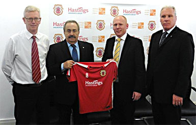 Gibraltar FA's new team shirt with Hastings sponsorship