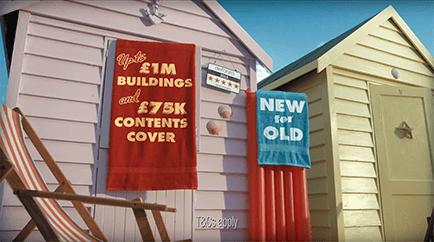 Beach hut home insurance TV advert.