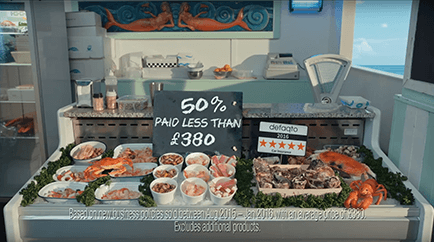 Seafood car insurance TV advert.