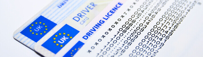 Numbers on a driving licence