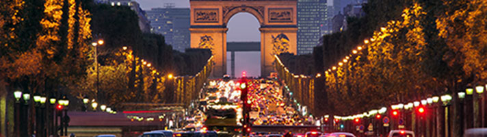 The Champs Elysees and Arc de Triomph.